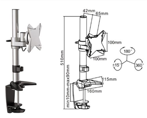 """Brateck 13-27"""" Single Monitor Stand with Clamp Base"""