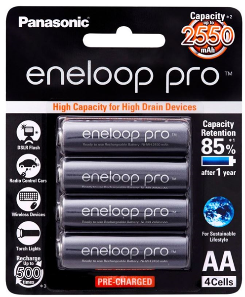Panasonic Eneloop Pro Aa Rechargeable Battery 4 Pack From