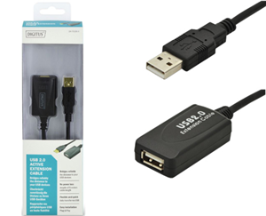 Digitus USB 2.0 Type A (M) to USB Type A (F) 5m Active Extension Cable