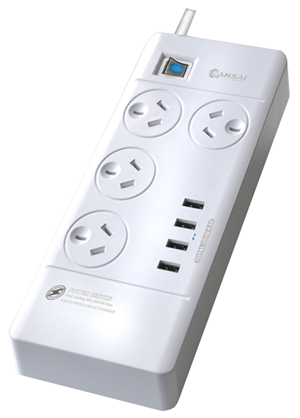 Sansai 4 Way Surge Powerboard with 4 x USB Charging Ports