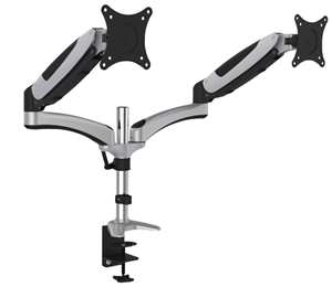 "Digitus 15-27"" Gas Spring Dual Monitor Stand with Clamp Base"