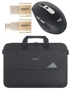 """Premium Notebook Bundle - Logitech Mouse, 14"""" Bag & Type-C Flash Drive"""