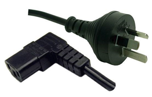 10A/250V Right Angle IEC (M) to 3 Pin Power (M) 2m Power Cord