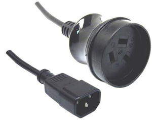 10A/250V UPS IEC (M) to 3 Pin Power (F) 0.5m Power Cord