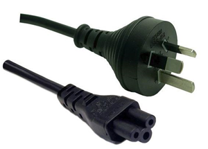 3 Pin Power Lead (M) to C5 Clover (M) 1.8m Power Cable - Bulk
