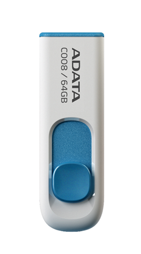 ADATA C008 Retractable USB 2.0 64GB White/Blue Flash Drive