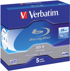 Verbatim BD-R LTH Type 25GB 6X 5 Pack in Jewel Cases