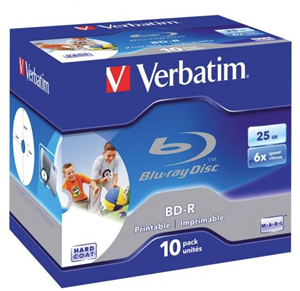 Verbatim BD-R 25GB 6X White Wide Printable 10 Pack in Jewel Cases