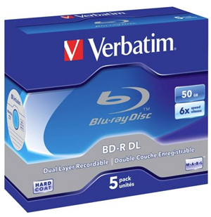 Verbatim BD-R DL 50GB 6x 5 Pack with Jewel Cases