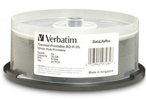 Verbatim BD-R DL 6x White Wide Thermal 25 Pack on Spindle