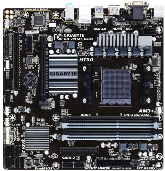 Gigabyte GA-78LMT-USB3 mATX AM3+ (125W) DDR3 Motherboard Solid Caps