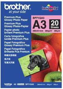 Brother BP71GA3 A3 Premium Glossy Photo Paper 260GSM 20 Sheets