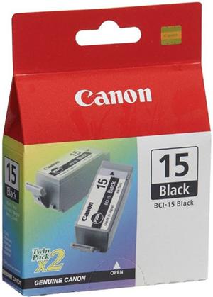 Canon BCI15BK Black Ink Cartridge Twin Pack