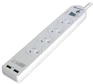 Sansai 4 Way Surge Powerboard with 2 x USB Charging Ports