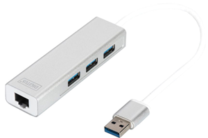 Digitus USB 3.0 3-Port Hub & Gigabit LAN Adapter