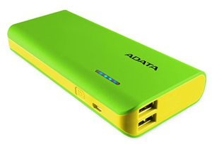 ADATA PT100 10,000mAh Powerbank with Flashlight - Green/Yellow