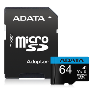 ADATA Premier microSDHC UHS-I A1 V10 Card with Adapter 64GB