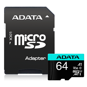 ADATA Premier Pro microSDHC UHS-I U3 A1 V30 Card with Adapter 64GB