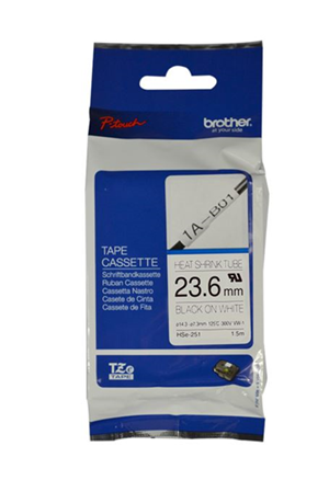 Brother HSe-251 24mm x 1.5m Black on White Heat Shrink Tape