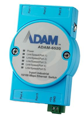 Advantech ADAM-6520 5 Port Industrial 10/100 Switch